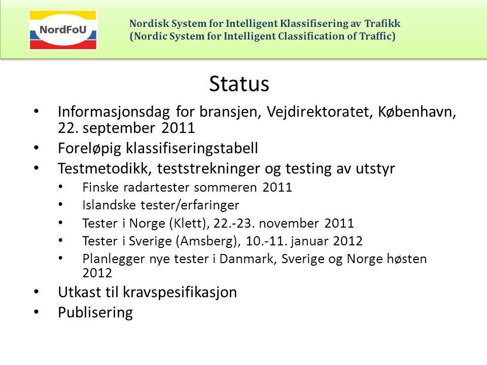 Status Informasjonsdag for bransjen, Vejdirektoratet, København, 22. september 2011. Foreløpig klassifiseringstabell.