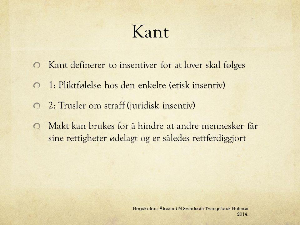 Kant Kant definerer to insentiver for at lover skal følges