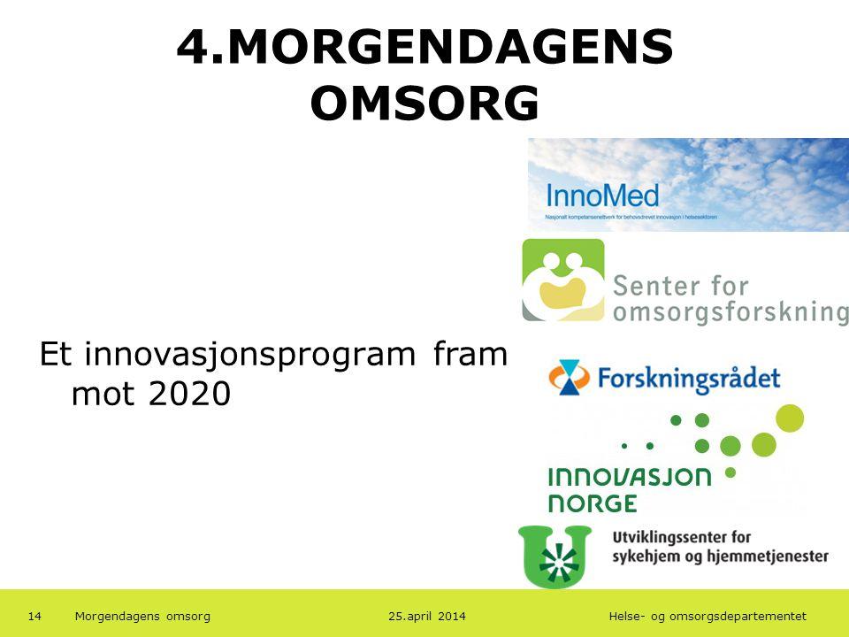 4.MORGENDAGENS OMSORG Et innovasjonsprogram fram mot 2020 19.04.2013