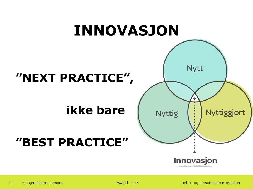 INNOVASJON NEXT PRACTICE , ikke bare BEST PRACTICE 19.04.2013