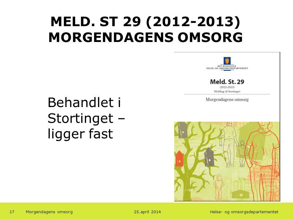 MELD. ST 29 (2012-2013) MORGENDAGENS OMSORG