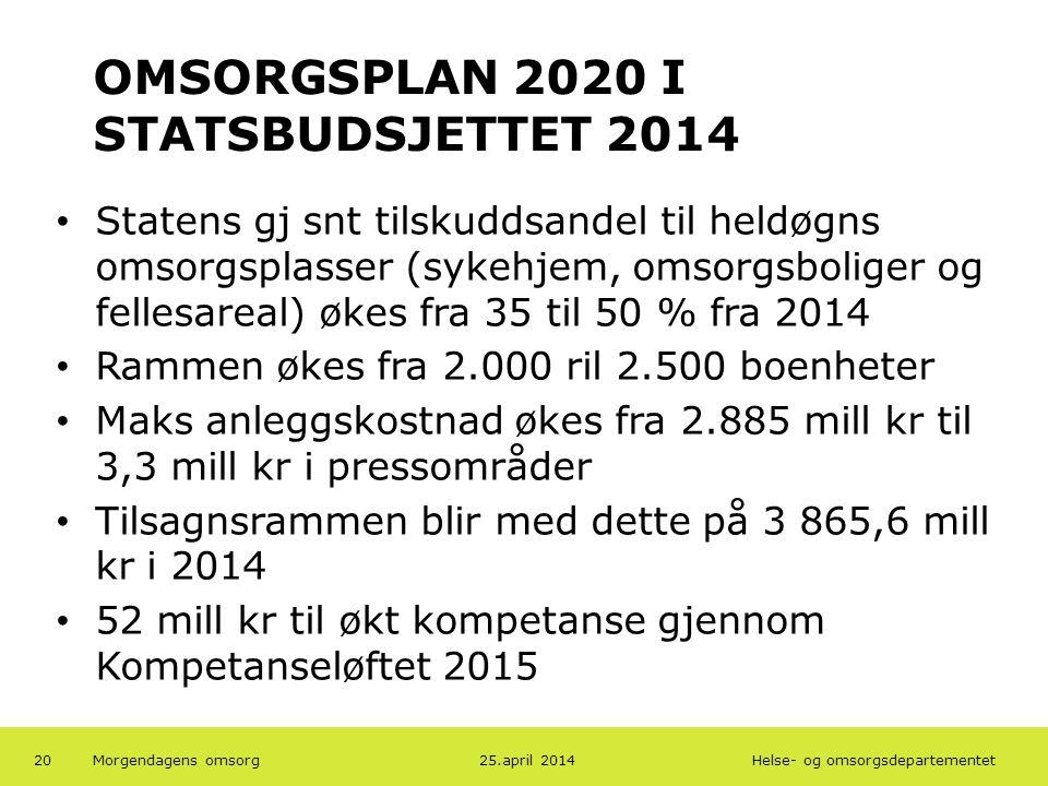 OMSORGSPLAN 2020 I STATSBUDSJETTET 2014