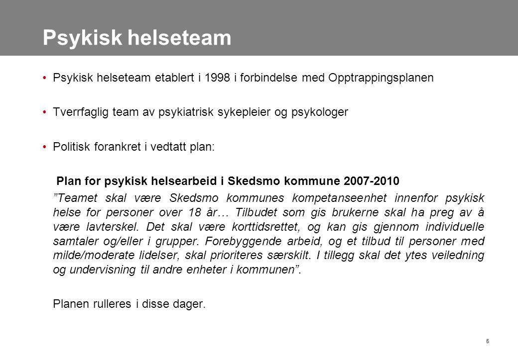 Psykisk helseteam Psykisk helseteam etablert i 1998 i forbindelse med Opptrappingsplanen. Tverrfaglig team av psykiatrisk sykepleier og psykologer.
