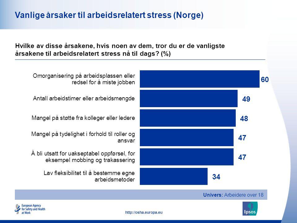Vanlige årsaker til arbeidsrelatert stress (Norge)