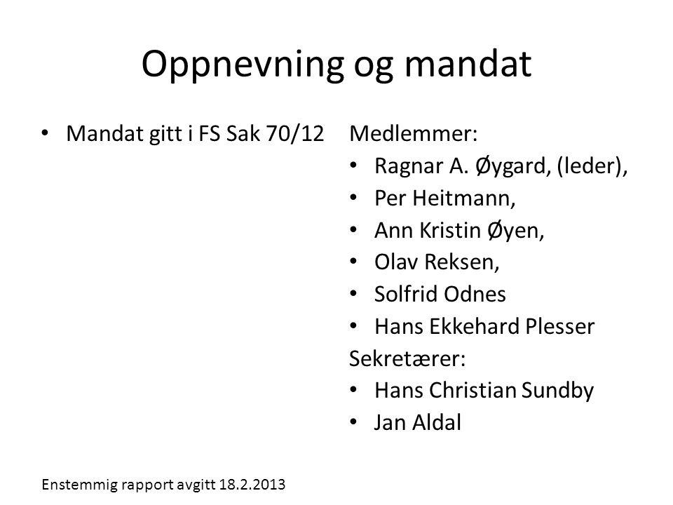 Oppnevning og mandat Mandat gitt i FS Sak 70/12 Medlemmer: