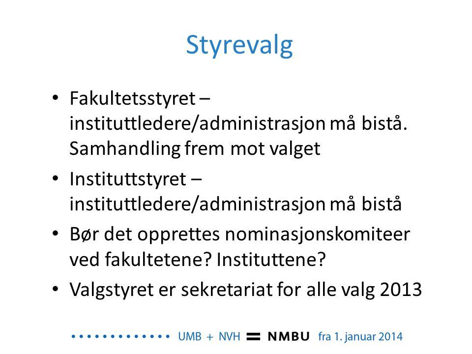Styrevalg Fakultetsstyret – instituttledere/administrasjon må bistå. Samhandling frem mot valget.