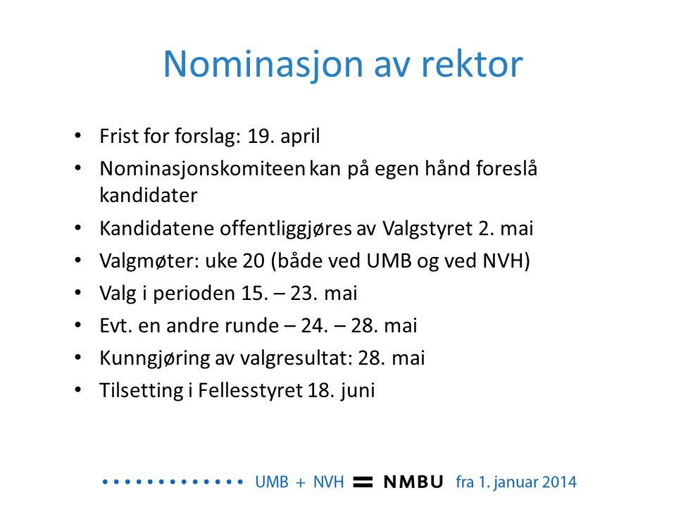 Nominasjon av rektor Frist for forslag: 19. april