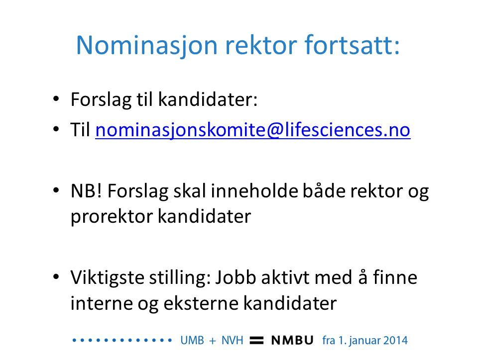 Nominasjon rektor fortsatt: