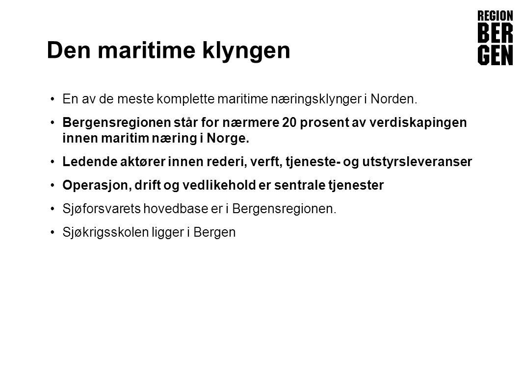 Den maritime klyngen En av de meste komplette maritime næringsklynger i Norden.