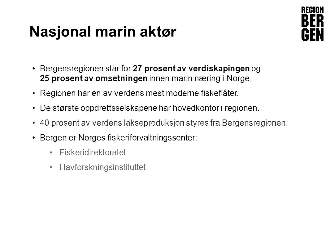 Nasjonal marin aktør Bergensregionen står for 27 prosent av verdiskapingen og 25 prosent av omsetningen innen marin næring i Norge.