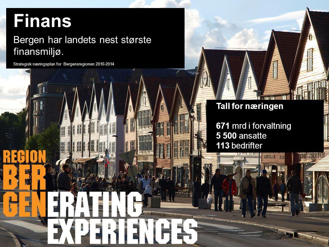 Finans Bergen har landets nest største finansmiljø. Tall for næringen