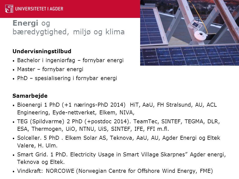 Energi og bæredygtighed, miljø og klima