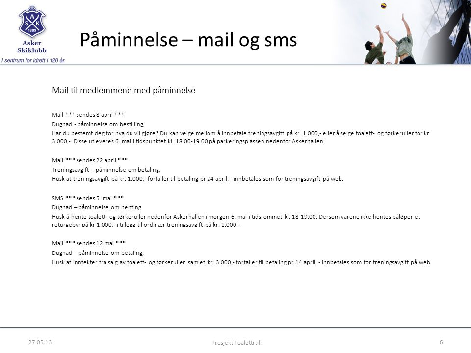 Påminnelse – mail og sms