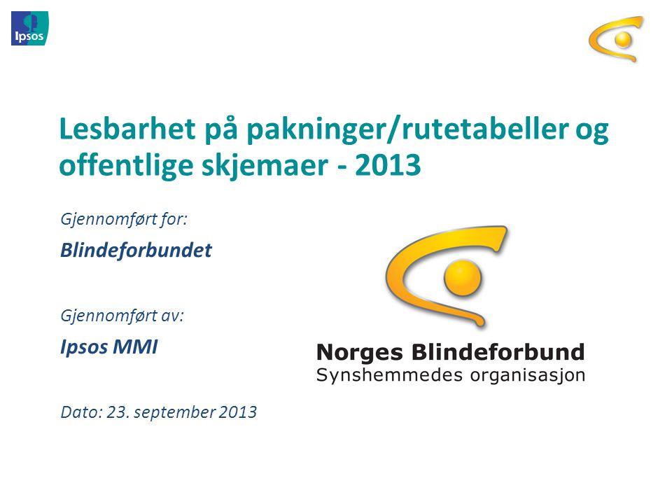 Lesbarhet på pakninger/rutetabeller og offentlige skjemaer - 2013