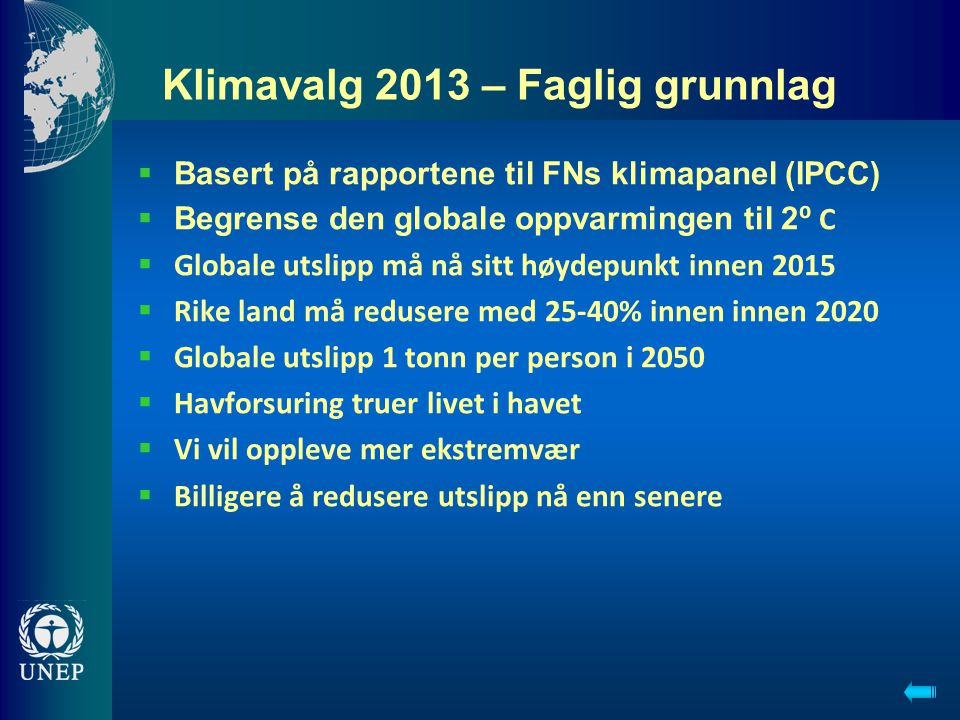 Klimavalg 2013 – Faglig grunnlag