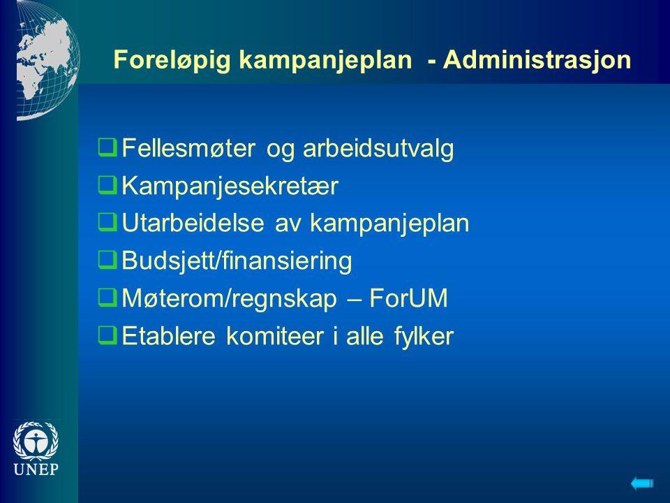 Foreløpig kampanjeplan - Administrasjon