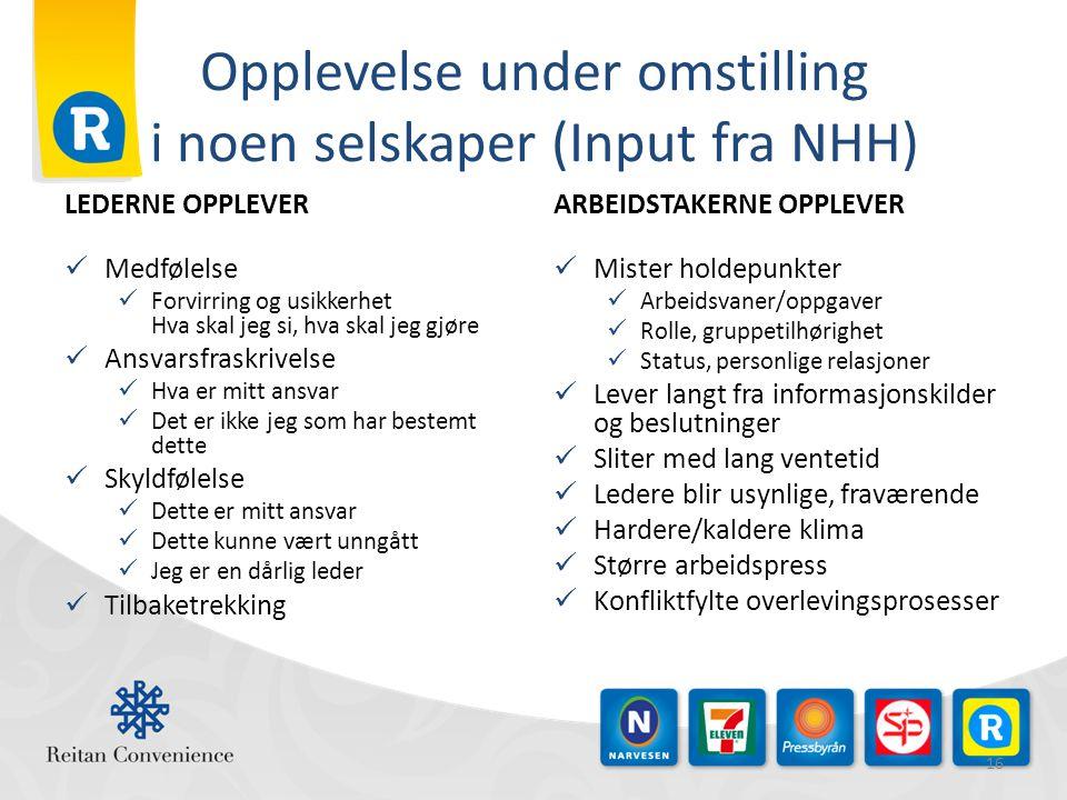 Opplevelse under omstilling i noen selskaper (Input fra NHH)