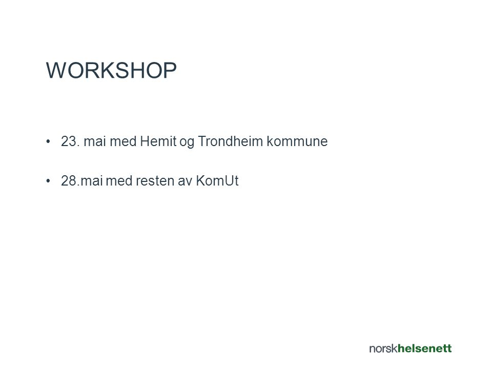 Workshop 23. mai med Hemit og Trondheim kommune