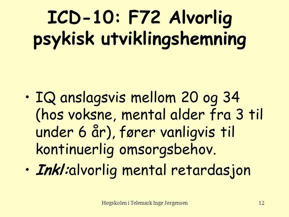 ICD-10: F72 Alvorlig psykisk utviklingshemning