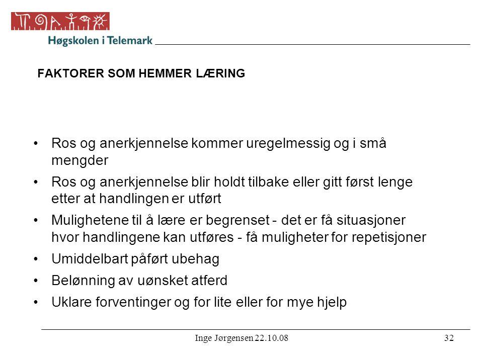 FAKTORER SOM HEMMER LÆRING