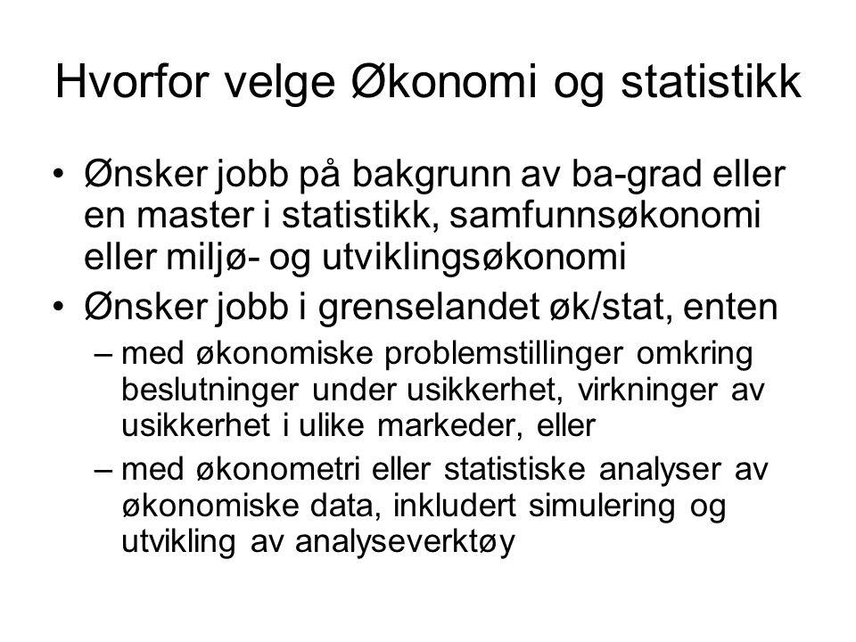 Hvorfor velge Økonomi og statistikk