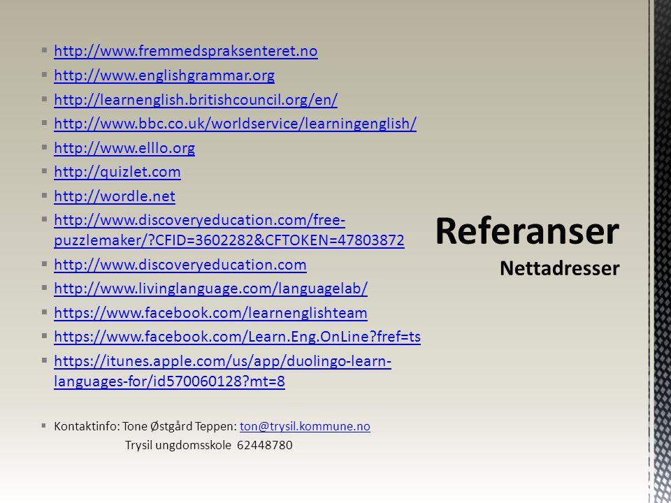 Referanser Nettadresser