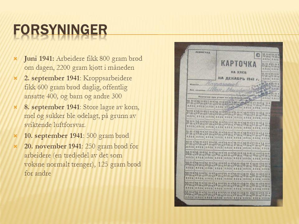 Forsyninger Juni 1941: Arbeidere fikk 800 gram brød om dagen, 2200 gram kjøtt i måneden.