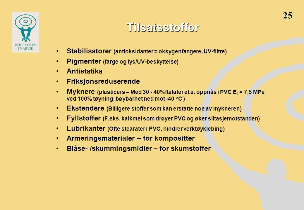 25 Tilsatsstoffer. Stabilisatorer (antioksidanter = oksygenfangere, UV-filtre) Pigmenter (farge og lys/UV-beskyttelse)