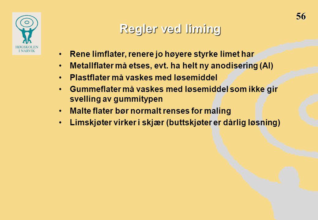 Regler ved liming 56 Rene limflater, renere jo høyere styrke limet har