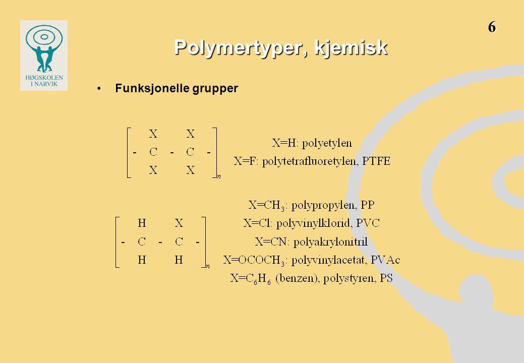 6 Polymertyper, kjemisk Funksjonelle grupper