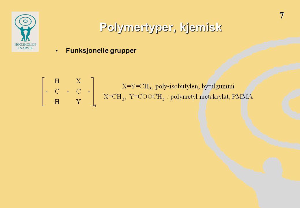 7 Polymertyper, kjemisk Funksjonelle grupper