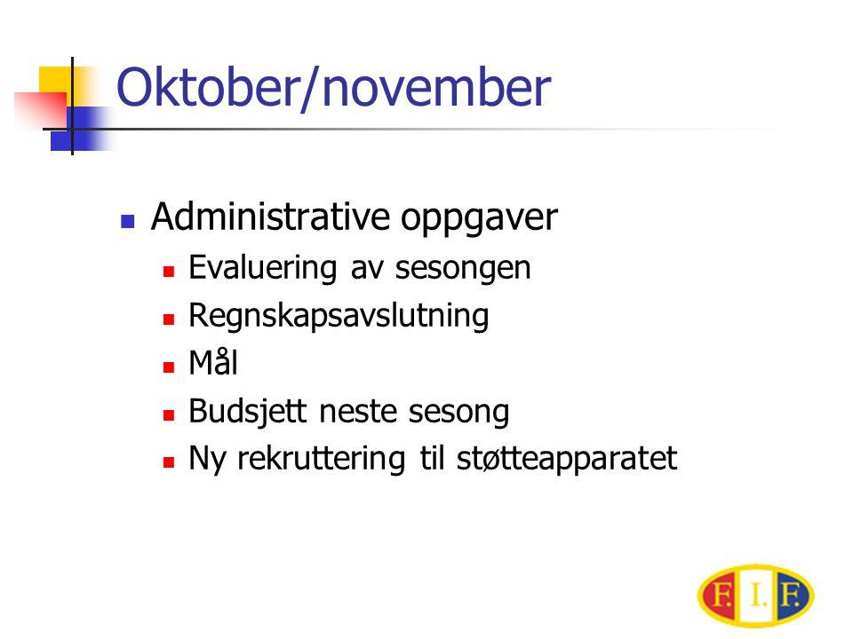 Oktober/november Administrative oppgaver Evaluering av sesongen