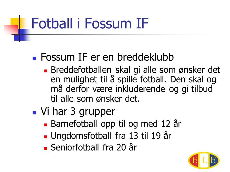 Fotball i Fossum IF Fossum IF er en breddeklubb Vi har 3 grupper