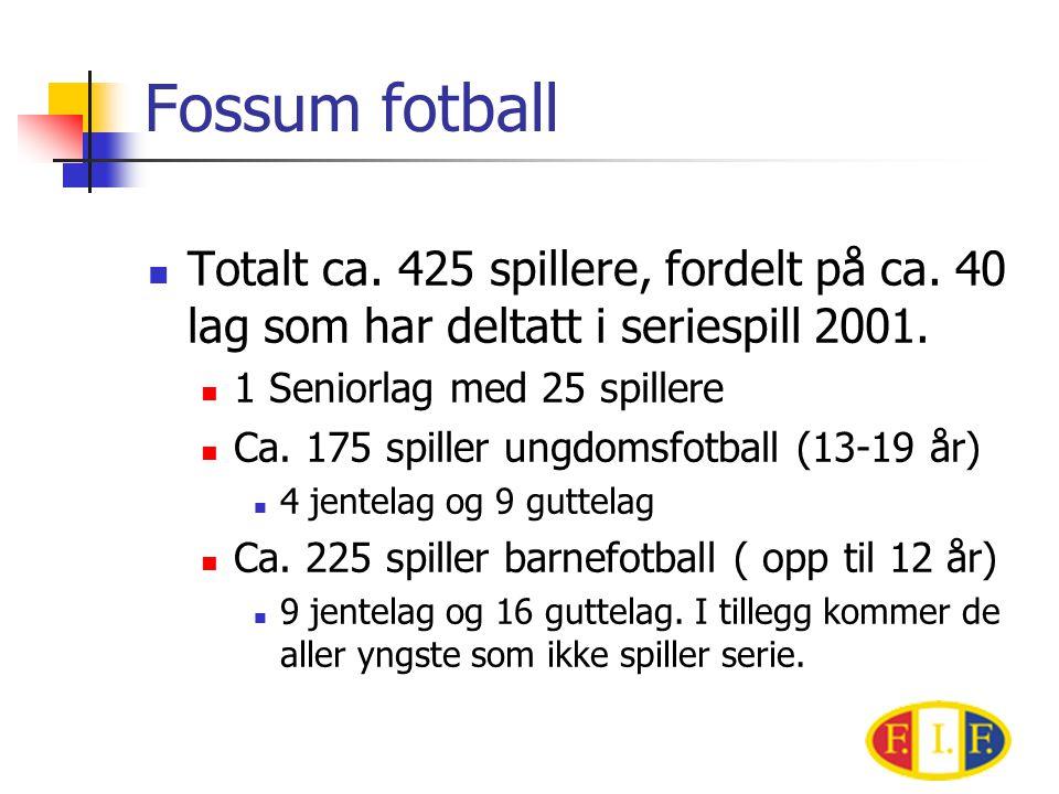 Fossum fotball Totalt ca. 425 spillere, fordelt på ca. 40 lag som har deltatt i seriespill 2001. 1 Seniorlag med 25 spillere.