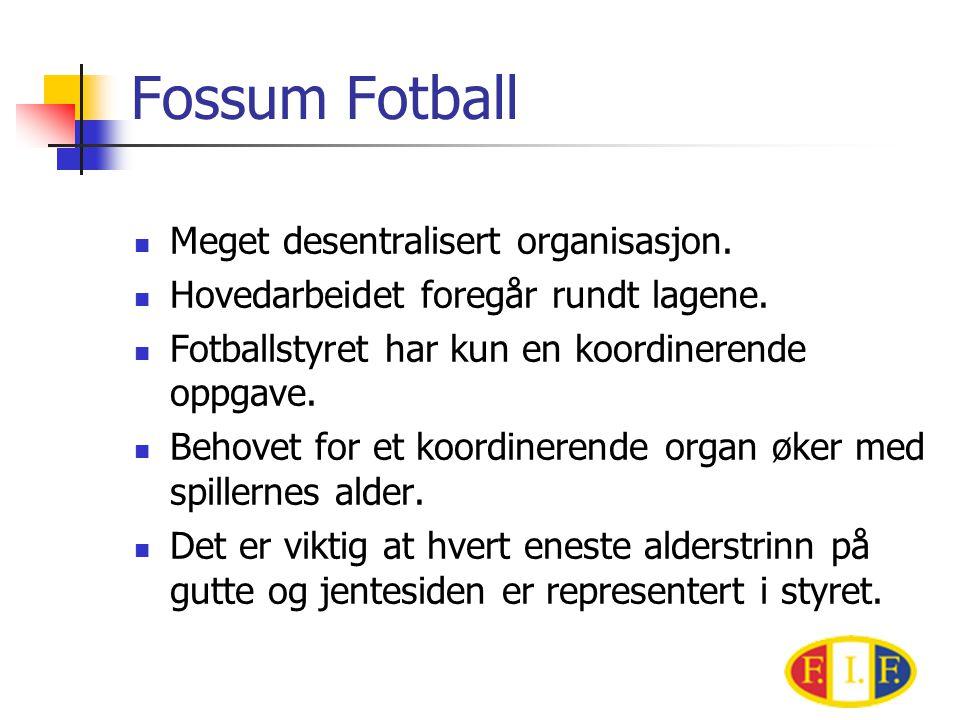 Fossum Fotball Meget desentralisert organisasjon.