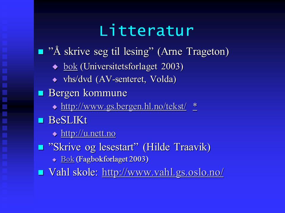 Litteratur Å skrive seg til lesing (Arne Trageton)