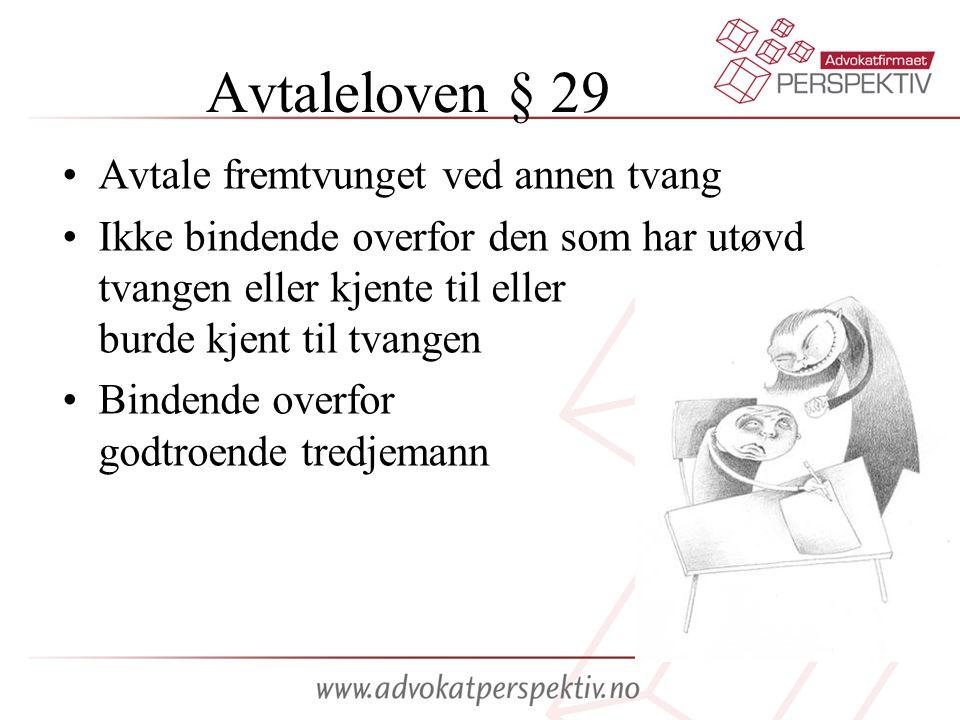 Avtaleloven § 29 Avtale fremtvunget ved annen tvang