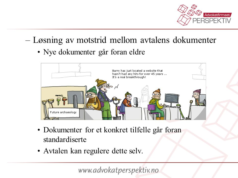 Løsning av motstrid mellom avtalens dokumenter
