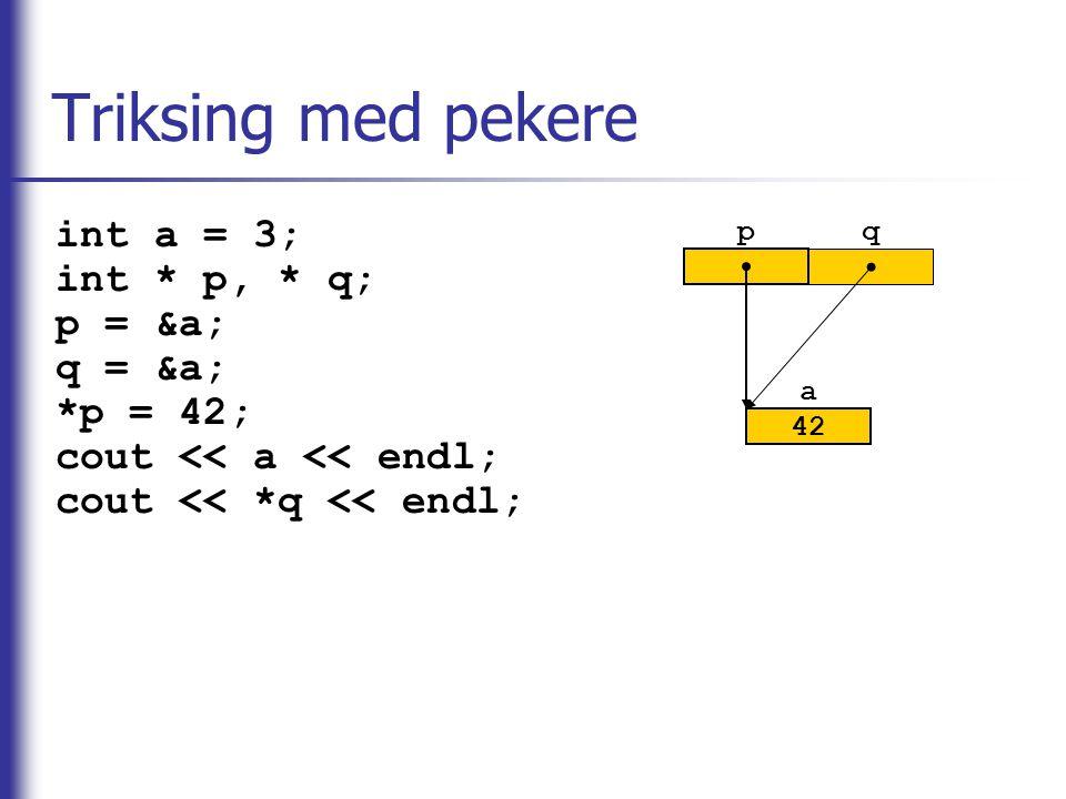 Triksing med pekere int a = 3; int * p, * q; p = &a; q = &a; *p = 42;