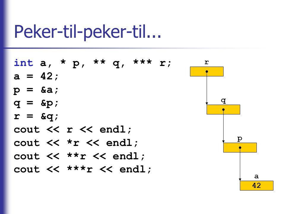 Peker-til-peker-til... int a, * p, ** q, *** r; a = 42; p = &a;