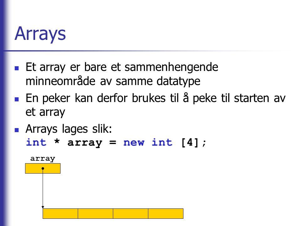 Arrays Et array er bare et sammenhengende minneområde av samme datatype. En peker kan derfor brukes til å peke til starten av et array.