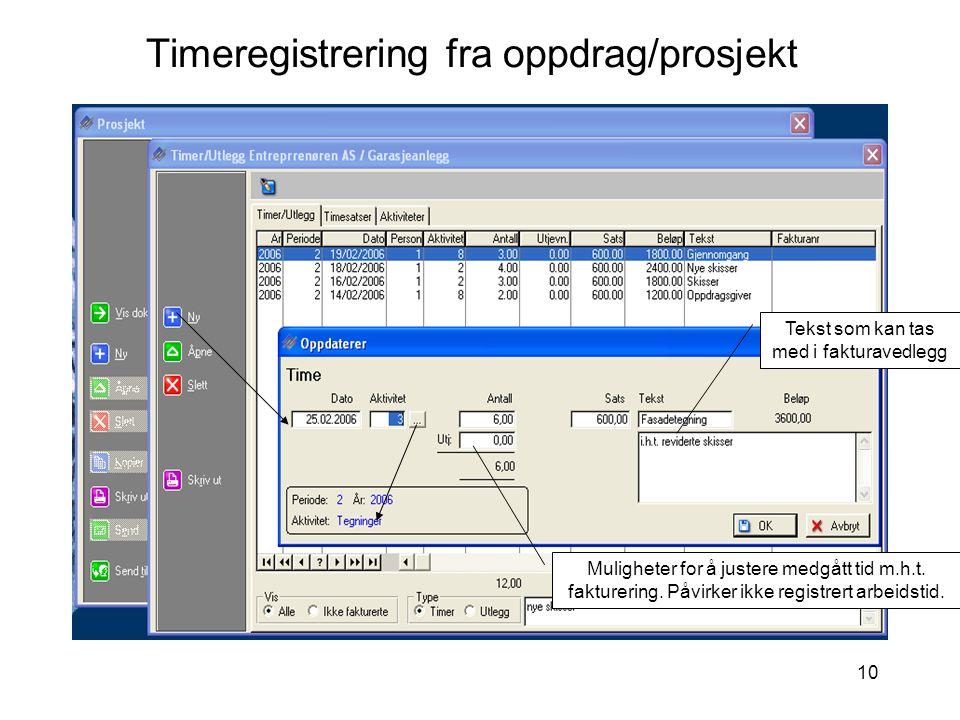 Timeregistrering fra oppdrag/prosjekt
