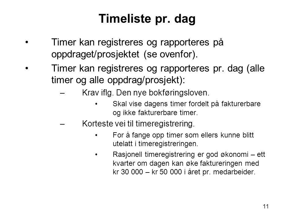 Timeliste pr. dag Timer kan registreres og rapporteres på oppdraget/prosjektet (se ovenfor).