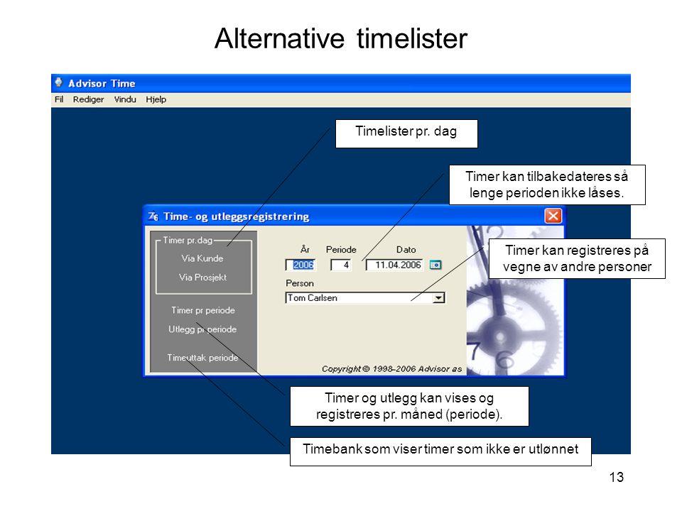 Alternative timelister