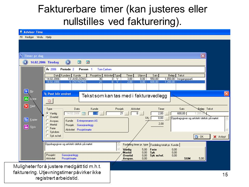 Fakturerbare timer (kan justeres eller nullstilles ved fakturering).