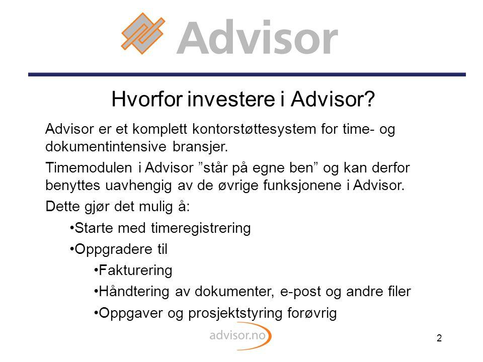Hvorfor investere i Advisor