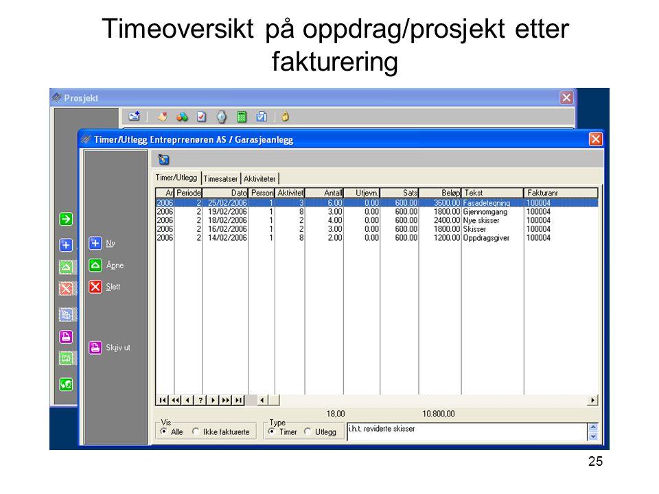 Timeoversikt på oppdrag/prosjekt etter fakturering