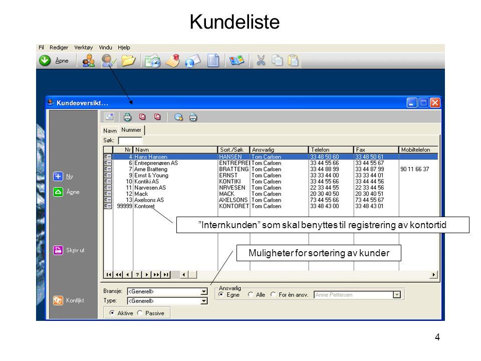 Kundeliste Internkunden som skal benyttes til registrering av kontortid.