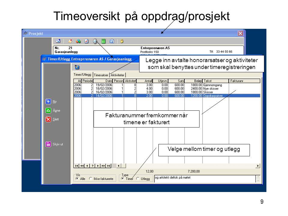 Timeoversikt på oppdrag/prosjekt