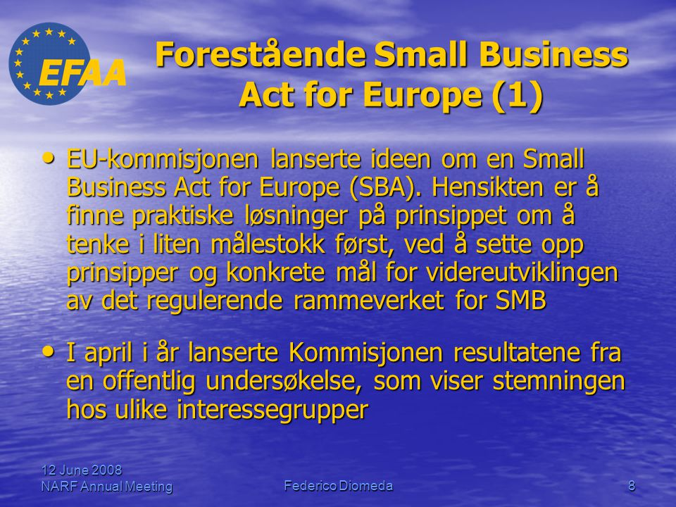 Forestående Small Business Act for Europe (1)